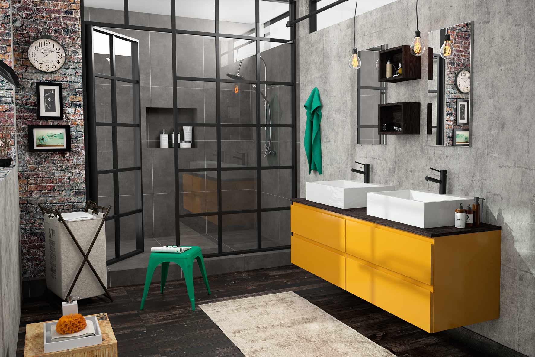 Une ambiance industrielle dans la salle de bain | Madame Décore
